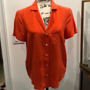 Tommy Bahama orange silk short sleeve blouse